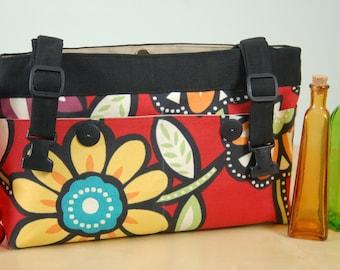 powerchair bag, wheelchair purse, walker organizer, wheel chair accessory - Bold red floral print.