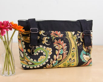 powerchair bag, wheelchair purse, walker organizer, wheel chair accessory - Paisley Print bag with pale green lining.