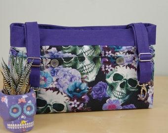 Powerchair bag, Wheelchair purse, Walker Organizer, Wheel Chair Accessory - Bold Sugar Skull print in shades of Blue and Purple.