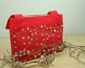 Walker Bag: Bright Red bag with fun Gold polka dots.
