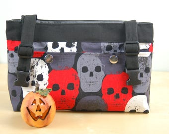 Powerchair Bag, Wheelchair Purse, Walker Organizer, Wheel Chair accessory:  Black, White, Gray and Red skull print bag with gray lining.