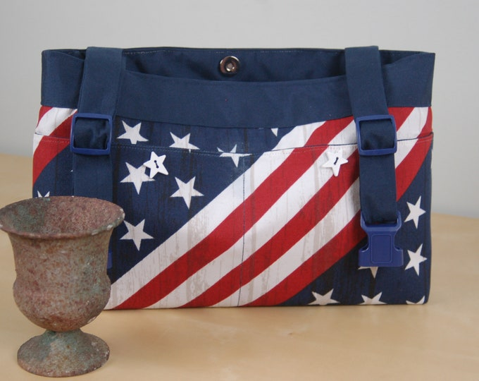 Featured listing image: Powerchair bag, Wheelchair purse, Walker Organizer, Wheel Chair Accessory - Stars and Stripes