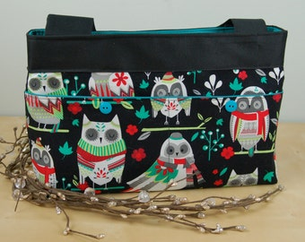 Walker Bag: Baby it's Cold Outside!!!  Fun Wintery Owl print with bright turquoise lining.