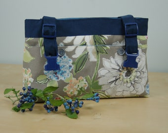 Powerchair bag, Wheelchair Purse, Walker Organizer, Wheel chair Accessory - Gray Floral Bag, with a periwinkle blue lining.