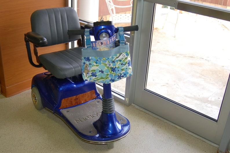 walker organizer powerchair bag wheelchair purse wheel chair accessory: Deep purple bag with fun polka dotted lining.