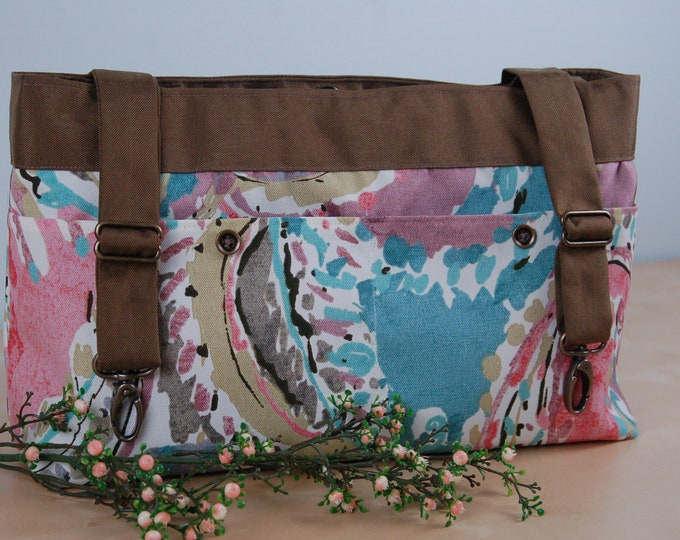 Featured listing image: Powerchair bag, Wheelchair purse, Walker Organizer, Wheel Chair Accessory - Pastel Paisley print bag with brown lining.