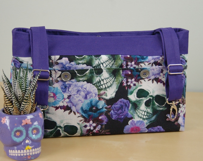 Featured listing image: Powerchair bag, Wheelchair purse, Walker Organizer, Wheel Chair Accessory - Bold Sugar Skull print in shades of Blue and Purple.