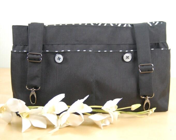 Featured listing image: Powerchair bag, Wheelchair purse, Walker Organizer, Wheel Chair Accessory:  Black Bag with herringbone print lining.