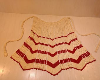 Very Sweet Vintage Red & Creamy White Crocheted Apron Generous Full Size