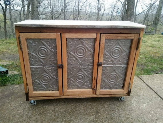 wooden kitchen storage cabinets Free Shipping CUSTOM SOLID WOOD Kitchen Island Storage Cabinet With Antique Ceiling Tin Barn Wood Counter Top Made Repurposed Wood Door