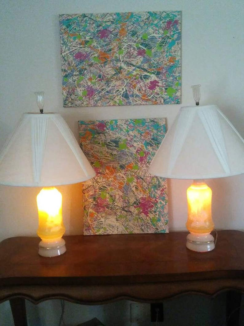 Vintage Beautiful Celadon Mid Century Modern  ALADDIN LAMPS Light Celadon Green and Cream Lily of the Valley Alacite Custard Glass Finials