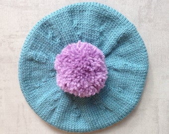 Children's Hat, Beret, Tam, Knitted Baby Clothes, UK Seller, Pure Wool, Hand Knitted