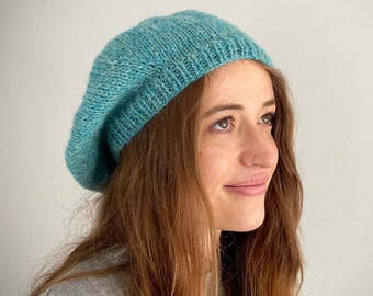 Pure Wool Hand Knitted Beret, Aqua Tweed Colour Tam, Winter Hat, Beret, UK Seller,