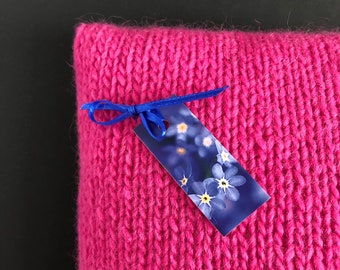 Cushion Hand Knitted Pure Wool Shocking Pink, Pure Wool Hand Knitted Cushion, UK Seller,