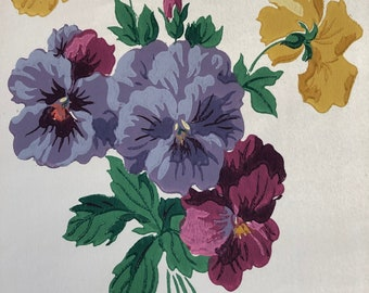 Vintage Pansies Wallpaper For Journaling, Découpage, Paper Craft Projects, Scrapbooking, UK Seller,