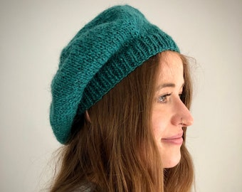 Pure Wool Hand Knitted Beret, Viridian Colour Tam, Winter Hat, Beret, UK Seller,
