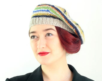 Adult's Beret, 40's Style Beret, Hat, Beret, Pure Wool, Hand Knitted, UK Seller,
