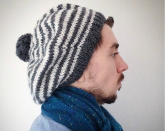 Hipster, Men's Hat, Slouchy, Hipster Clothing, Beret, Pure Wool, Hand Knitted Beret, Grey And White, UK Seller