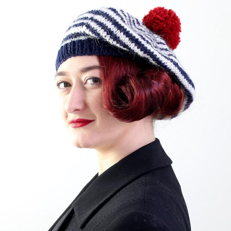 613cb46f Adult's Beret Hat Breton Stripes Pure Wool Hat Hand | Etsy
