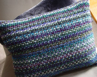 Cushion, Pillow, Hand Knitted, UK Seller, Pure Wool, Rainbow Colours