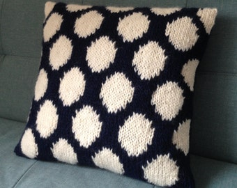 Hand Knitted Cushion, Pillow, Pure Wool, UK Seller, Blue And White,