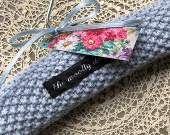 Baby Hangers, Baby Shower, Children's Hanger, Padded Hangers, UK Seller, Blue, Pure Wool, Hand Knitted