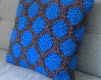 Cushion, Pillow, Knit Pillow, Hand  Knitted Cushion, Pure Wool, Teenagers Room, Spots, UK Seller, Electric Blue,