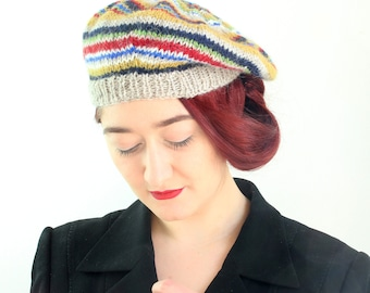 Beret, 40's Style Beret, Hat, Adult's Beret, Pure Wool, Hand Knitted, UK Seller,