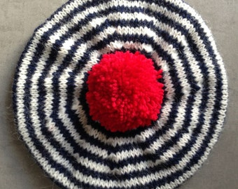 Beret, Adult's Hat, hat, Breton Stripes, Pure Wool, Hand Knitted Beret, Red White and Blue, UK Seller