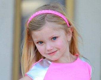 Hot Pink Headband - Pink Headband - Ribbon Woven Headband - Hot Pink - Hard Plastic Headband - Child Toddler Teenager Adult Headband