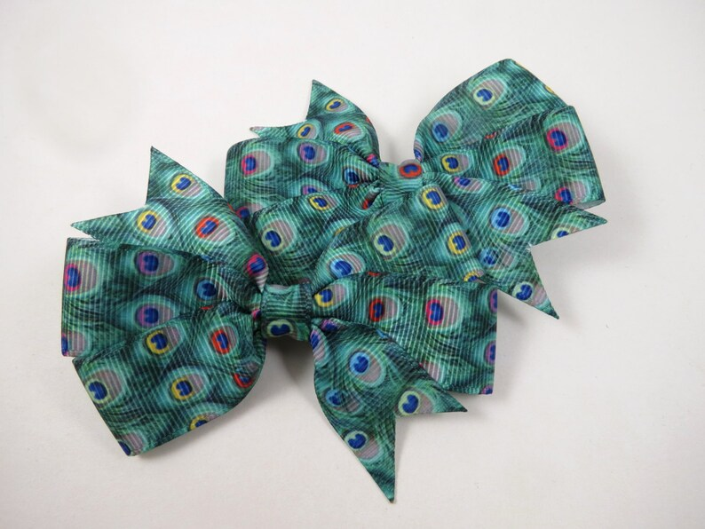 Peacock Hair Bows  Peacock Hair Clips   Peacock Print  image 0