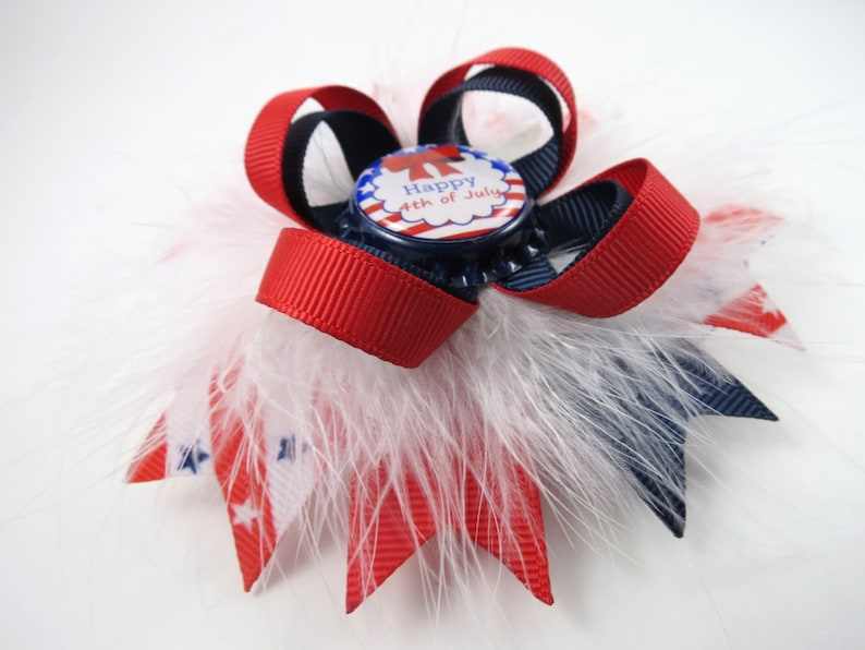 Red Hair Bow Blue Hair Bow Red White and Blue Hair Bow 4th of July Hair Clip White Hair Bow Patriotic Hair Clip