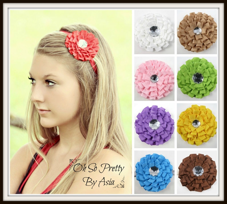 Ruffle Flower Headband  Red Purple Yellow Green Brown Tan image 0