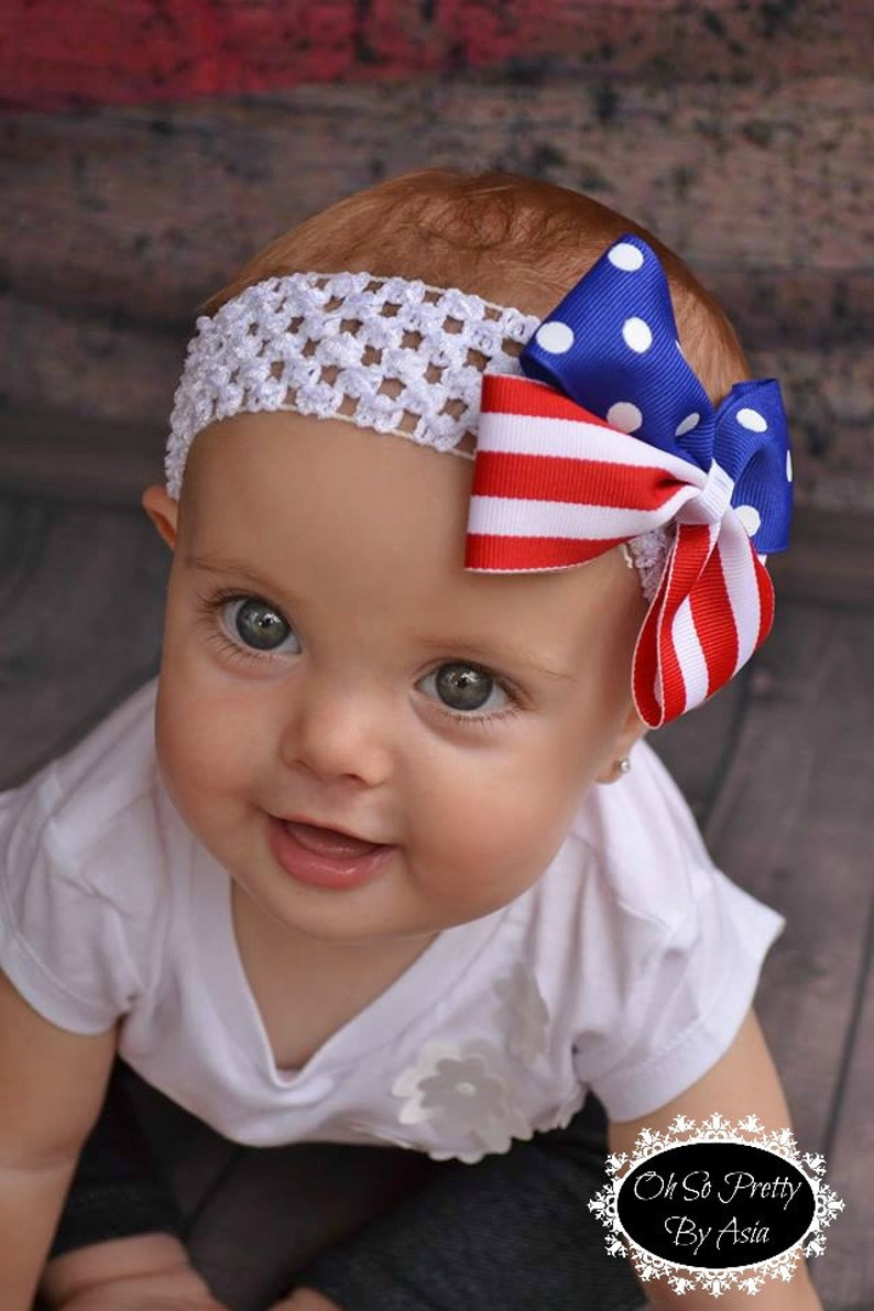 Red White and Blue Hair Bow  4th of July Headband  4th of image 0