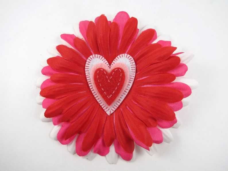 Heart Flower Hair Bow  Red Hair Clip  Red Hair Bow  Pink image 0