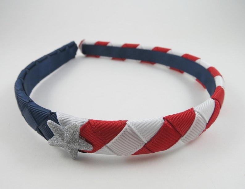 4th of July Headband  Red White and Blue Headband  Ribbon image 0