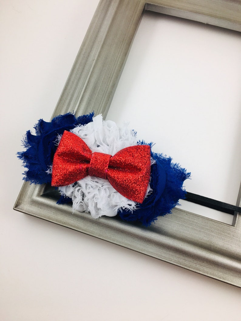 Red White and Blue Shabby Flower Hair Bow or Headband  4th of image 0