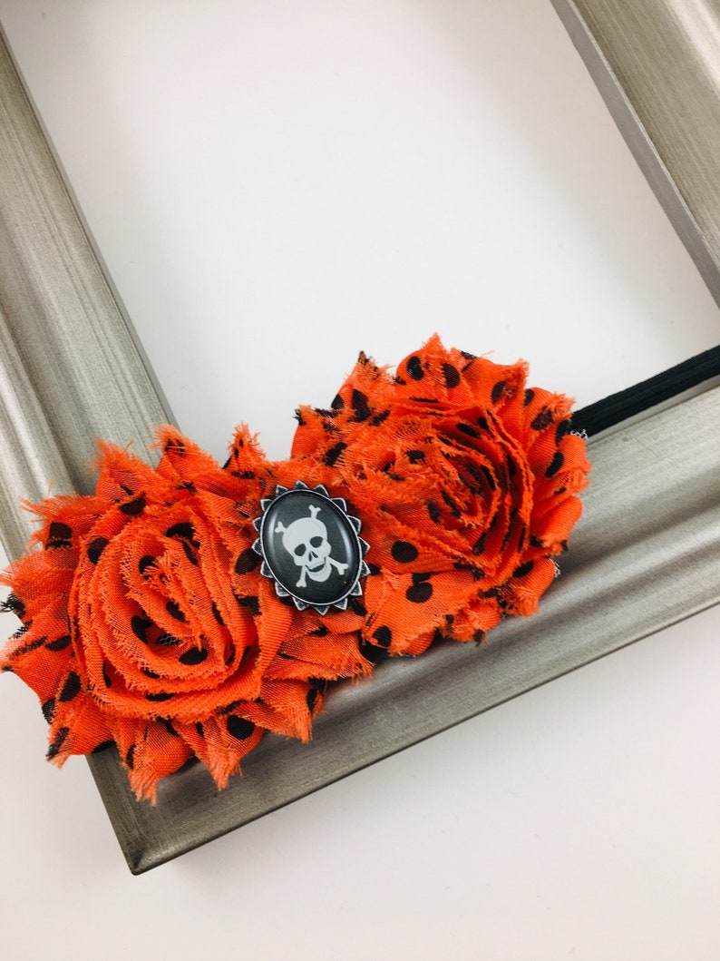 Halloween Orange and Black Skeleton Shabby Flower Hair Bow or image 0