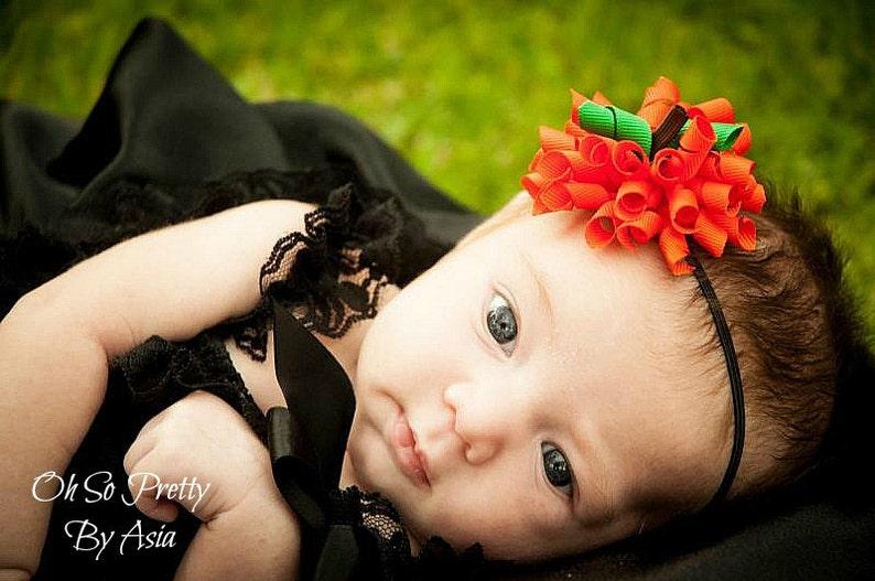 Baby Halloween Headband  Pumpkin Headband  Halloween Korker image 0