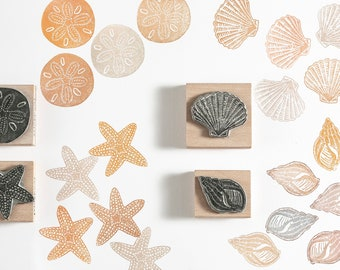 Shell rubber stamp, Starfish rubber stamp, Sand Dollar rubber stamps, Sea Stamps, Shell Stamps. seaside stamps, craft stamp, gift for her