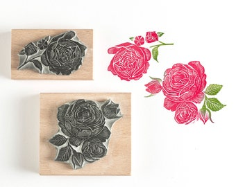 3//4 Inch Small Blooming Open Rose Flower Outline Rubber Stamp for Stamping Crafting Planners