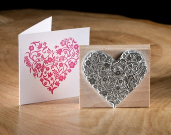 Wedding Rubber Stamp Small Flowery Heart