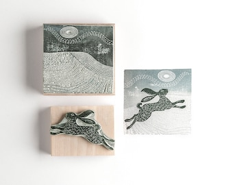 Snow Hare and Landscape Rubber Stamp, Christmas stamp, Christmas Rubber Stamp, Christmas Card Stamp, DIY craft gift