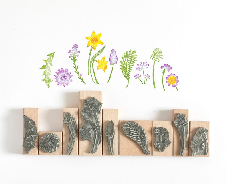 Spring Flower Rubber Stamp Flower Stamp Daffodil Stamp image 0