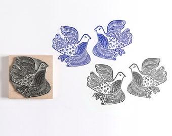 Lino Cut Love Birds Rubber Stamp - Bird stamp - wedding stamp - craft stamp