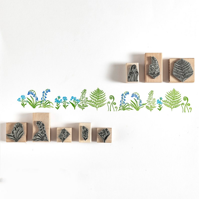 Botanical Rubber Stamp Wild Flower Rubber Stamp Fern Rubber image 0