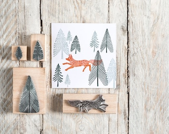 Fox and Fir Tree Rubber Stamp, Fox Stamp, Fir Tree Stamp, Christmas Rubber Stamp, Noolibirdstamps, Wooden Stamp, Art Stamp, craft stamp