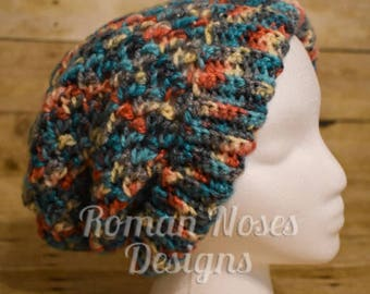 Salmon and Aqua Slouchy Crochet Hat FREE SHIPPING