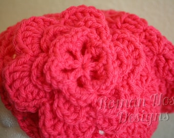 "Coral Pink Crocheted Flower Cloche Hat 20"" FREE SHIPPING"