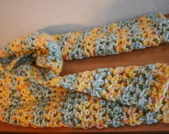 Golden Yellow and Green Crochet Scarf FREE SHIPPING